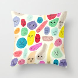Colored Faces Throw Pillow