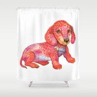 mini Shower Curtains featuring Mini Dachshund  by Ola Liola