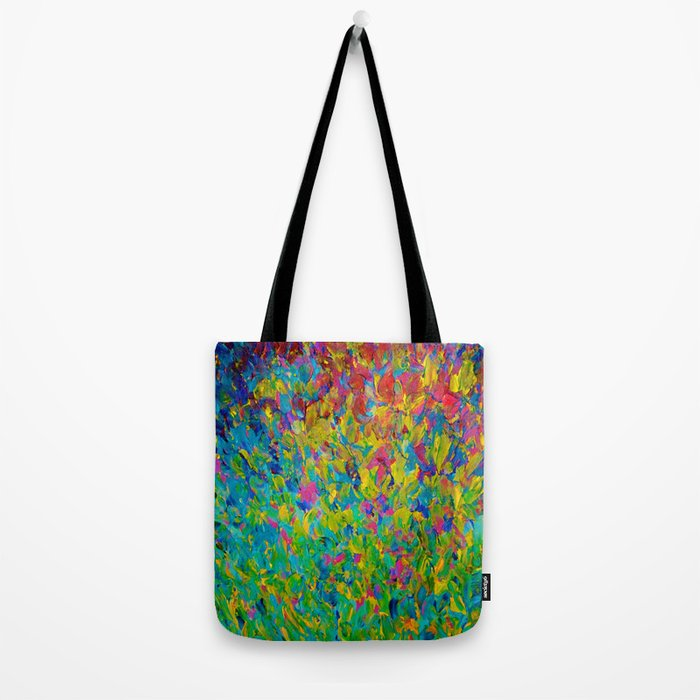 RAINBOW FIELDS - Colorful Abstract Acrylic Painting Ocean Waves Blue Teal Magenta Nature Fine Art Tote Bag
