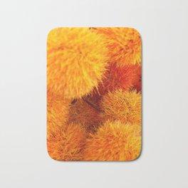Orange Flowers and Plants Bath Mat
