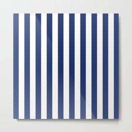 Vertical Navy Stripes Pattern Metal Print