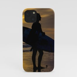 Silhouette of a surfer at sundown. End of a long day. iPhone Case