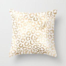 Elegant Gold White Leopard Cheetah Animal Print Throw Pillow