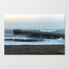 Ventua Ocean Wave Storm Pier Canvas Print