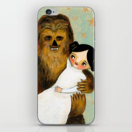 Princess Leia and Chewbacca painting by tascha parkinson iPhone Skin