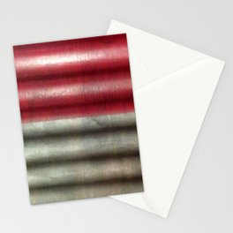 Industrial Wall | Red Grey Striped Wall | Contemporary Art Stationery Cards