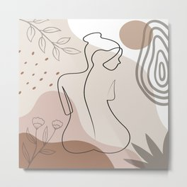 Set of naked woman sitting back one line. Poster cover. Minimal woman body. One line drawing. No 2/3 Metal Print
