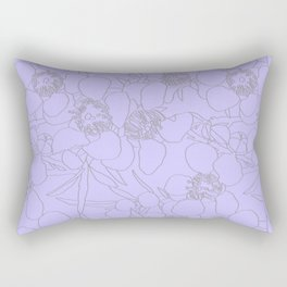 Australian Waxflower Line Floral in Lilac Rectangular Pillow