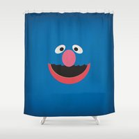 sesame street Shower Curtains featuring Sesame Street Vintage Nursery Art Grover Retro Style Minimalist Poster Print by The Retro Inc