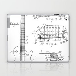 Gibson Guitar Patent - Les Paul Guitar Art - Black And White Laptop & iPad Skin