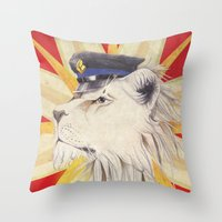 police Throw Pillows featuring Police Lion by WhiteRabbit