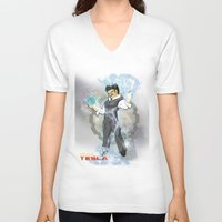 dbz V-neck T-shirts featuring DBZ Tesla Milky Way by Hushy