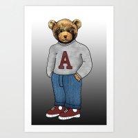 teddy bear Art Prints featuring teddy bear by ulas okuyucu