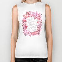 fitzgerald Biker Tanks featuring Zelda Fitzgerald – Pink on Charcoal by Cat Coquillette