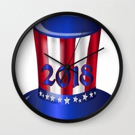 Uncle Sam 2018 Flag Hat Wall Clock
