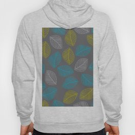 Mid Century Modern Falling Leaves Turquoise Chartreuse Gray Hoody
