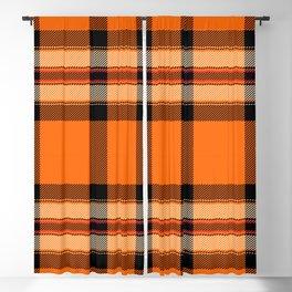 Argyle Fabric Plaid Pattern Autumn Orange & Black Colors Blackout Curtain