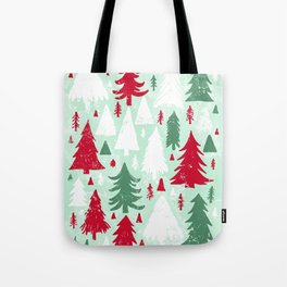 Mint, Red & Green Pine Trees Tote Bag