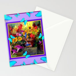 Blue Butterflies Purple Floral Still Life Painting Stationery Cards