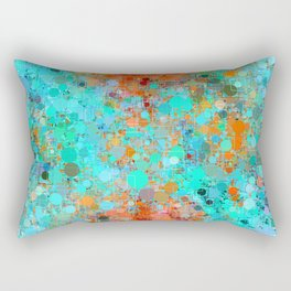 psychedelic geometric circle pattern and square pattern abstract in orange and blue Rectangular Pillow