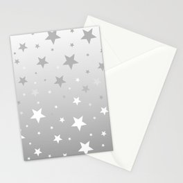 Scattered Stars Ombre Pale Silver Gray to White Stationery Cards