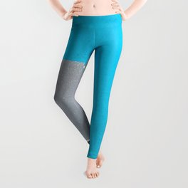 Blue Crossing Graphic Illustration of an Urban Street Photography in Japan Leggings