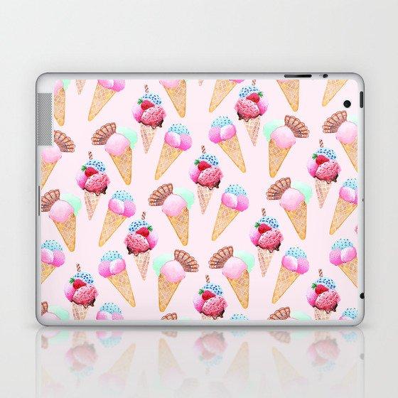 Ice cream Pattern summer cool watercolor Laptop & iPad Skin by magentarose