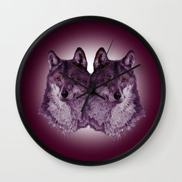 Season of the Wolf - Duet in Magenta Wall Clock