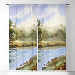 Original Watercolor Landscape Quietness Blackout Curtain