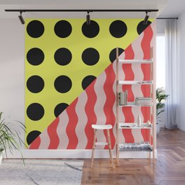 Polka Waves - black and yellow polka dots and red and pink waves Wall Mural