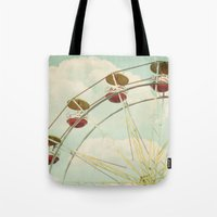 ferris wheel Tote Bags featuring ferris wheel by Beverly LeFevre