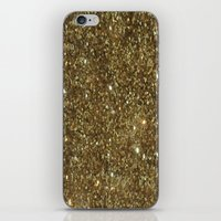 gold glitter iPhone & iPod Skins featuring Gold Glitter by NatalieBoBatalie