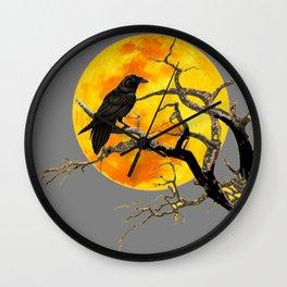 FULL MOON & RAVEN ON DEAD TREE Wall Clock