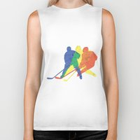 hockey Biker Tanks featuring Hockey by preview