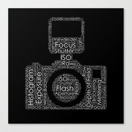 Photography Word Cloud Camera Shape Canvas Print
