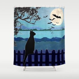October Moon Cat watching bats on fence Shower Curtain