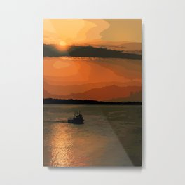 Ship in the sunset Metal Print