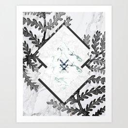 Ferns + Marble Art Print