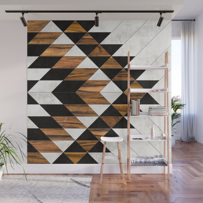 urban tribal pattern 9 aztec concrete and wood wall mural by