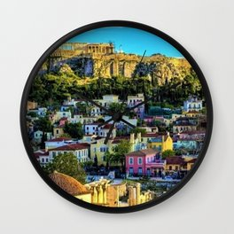 Daytime view of the Acropolis ruins; Athens, Greece Wall Clock