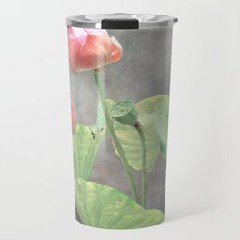 Asiatic Flowers in Pale Pink Travel Mug