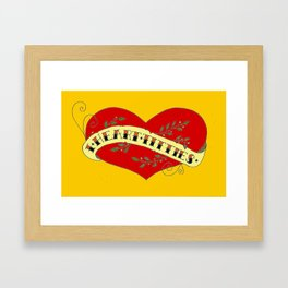 I Heart Titties, Colourful Framed Art Print