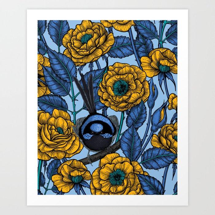 Wren in the roses Art Print