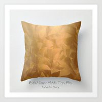 Brushed Copper Metallic Throw Pillow Art Print Art Print