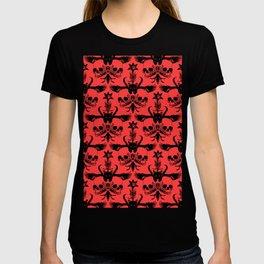 The Flying Black Cat Spell | damask | red devil T-shirt