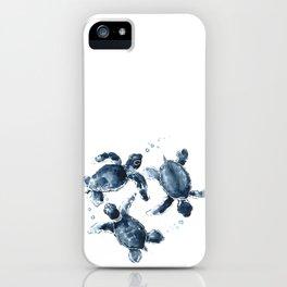Turtle Swimming Sea Turtles indigo blue turtle art iPhone Case