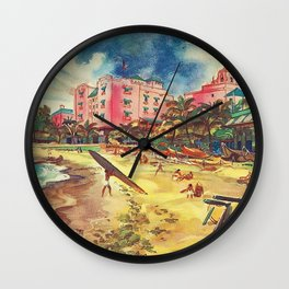 Hawaii's Famous Waikiki Beach landscape painting Wall Clock