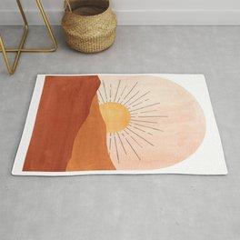 Abstract terracotta landscape, sun and desert Rug