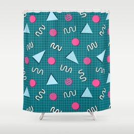 Geometric Memphis in Blue Shower Curtain