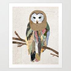 Owl Collage Art Print